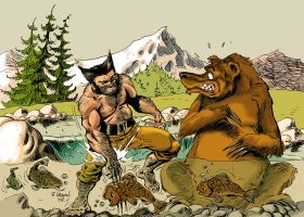 Wolverine and grizzly bear by Aldagon