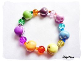 Rainbow Macaron Bead Bracelet by Cateaclysmic