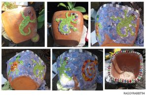 Garden Pot Mosaic WIP. by raggyrabbit94