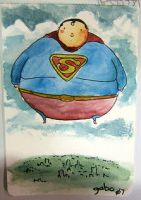 fatty superman likes to float by galvo