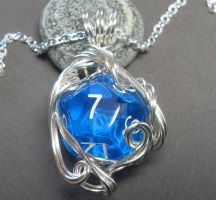 Gamer D12 Die Necklace in Aqua Blue by sojourncuriosities