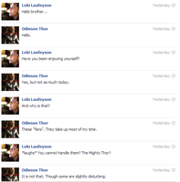 Thor and Loki FB convo 1 by JadenTheFangirl