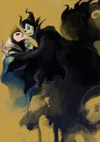 doodle-Maleficent and QueeN by agathexu