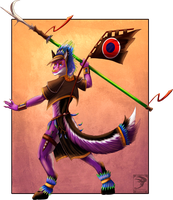 Comish - Tribal Fighter by TwilightSaint