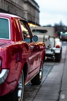Red Mustang rear-side view by sylvaincollet