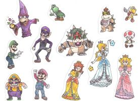 detailed mario characters by Lukeykins73