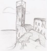 Ruined tower by Valerian32