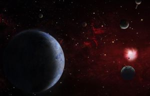 New solar system somewhere in space by Johndoop