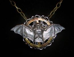 Steampunk Bat Medallion by lilibat