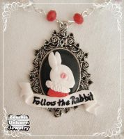 Follow the rabbit necklace closeup by Galadriel89