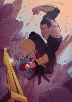 Burst Lion vs. Black Adam by Juggertha