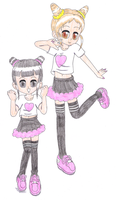 Dance girl Evelyn and Otome by macaustar