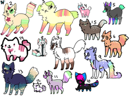 Big compiled canvas of adoptables by tina-adopt