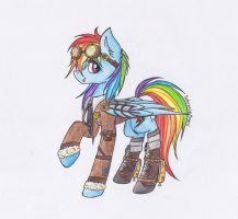 steampunk Rainbow Dash by SchizoidTomii