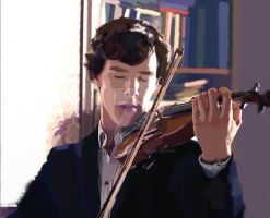 Sherlock playing the violin by EZZIELUVSDAVIDBOWIE
