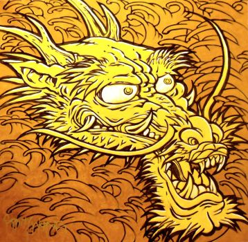 Yellow Dragon in Waves by sonnywong001
