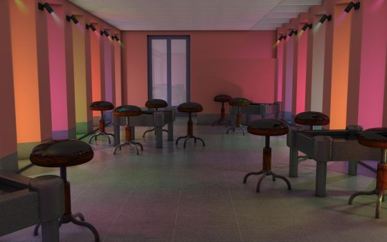 Colored lights in a room by Eraser85