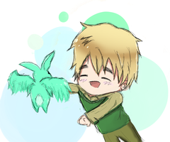 Hetalia - England ~ Flying mint bunny! by DominikaCebulka