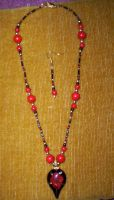 Red and Black Flower Necklace by BloodRed-Orchid