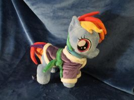 Rainbow Dash plushie with dressing gown by Jillah92