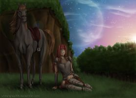 Dawn in the forest of Asgard by Niabolla