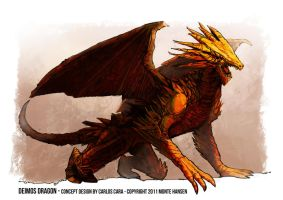 Gods in Exile: Deimos Dragon concept by carloscara