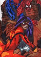 Spider Woman and Spider-Man by ChahlesXavier