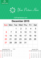 December 2015 Calendar Template Vector Free by 123freevectors