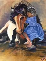 Horse with a girl painting by Azupaula