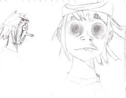 2D from Gorillaz pencil sketch by Atomic-Taco