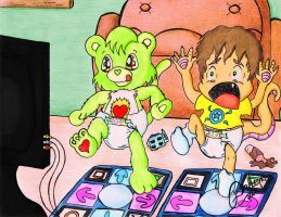 BlazeHeart and Dino-Andy playing DDR by shimiri