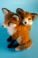 two inseparable fox kits II by SaniAmaniCrafts