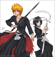 Bleach - Ichigo and Rukia by aj-chan
