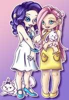 MLP:FiM Rarity and Fluttershy by Draco-Digi