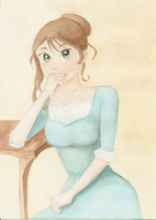 Anime-style girl watercolor by RivkaS
