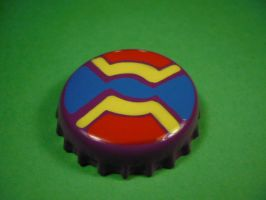 Purple, blue, red and yellow badge. by elniniodelaschapas