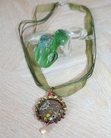 Earthy green steampunk bottle cap necklace by SuperFlashDance