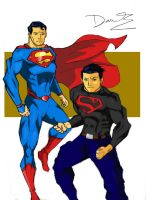 Superboy and Superman- YJ art by RJDJ-Productions