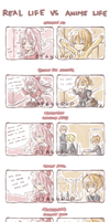 Real Life VS Anime Life (read right to left) by OtakuPup