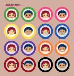 Girl, Boy Pin-Back Button Set by chieripie
