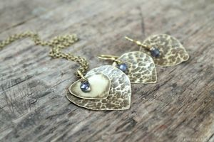 Brass set of jewelry with iolite by Schepotkina