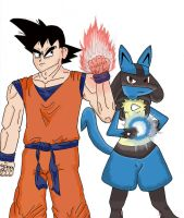 Goku and Lucario complete by nick-metroid