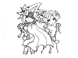 .: Atemu and Arito(Line Art) :. by YuGiOh4Ever