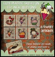 """SKELETON: 1.5"""" plastic buttons by SiSero"""
