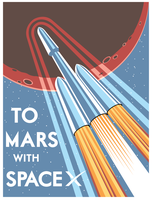 To Mars with SpaceX (Vector) by DecoEchoes