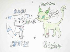 Albino and Saphire by AlbinoTheUmbreon