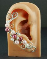Pink and White Pearl Fairy Ear Cuff - View 2 by sylva