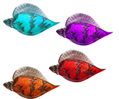 Crystal Seashells PNG STOCK -4 Different Colors- by KarahRobinson-Art