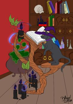 Witches Cat And The Magic Book  Lineart  By Bliood by JadeNekoKai
