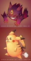 MEGA gengar and derpachu by HJeojeo